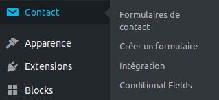 Menu WP du plugin Contact Form 7, pour la création de formulaire