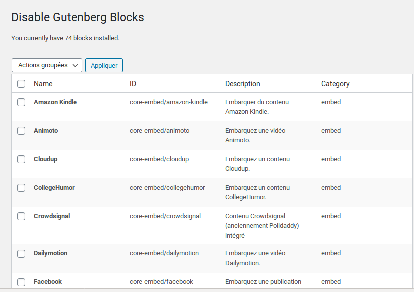 "Plugin ""Disable Gutenberg Blocks"""