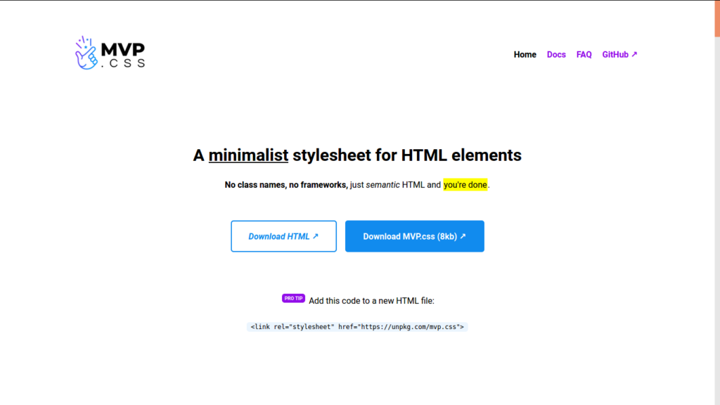 A minimalist stylesheet for HTML elements
