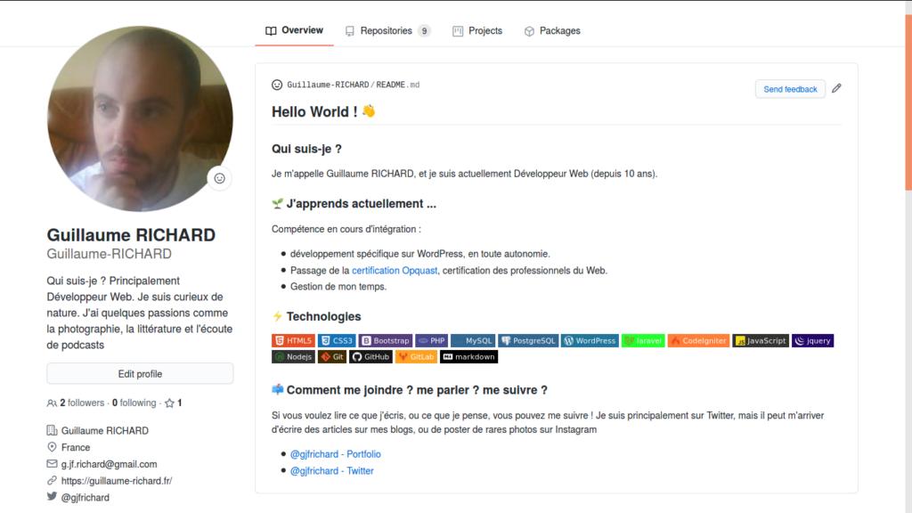 Exemple de Profil Github